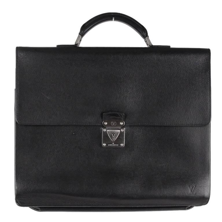 Louis Vuitton Black Taiga Leather Robusto 2 Compartments Briefcase Work Bag For