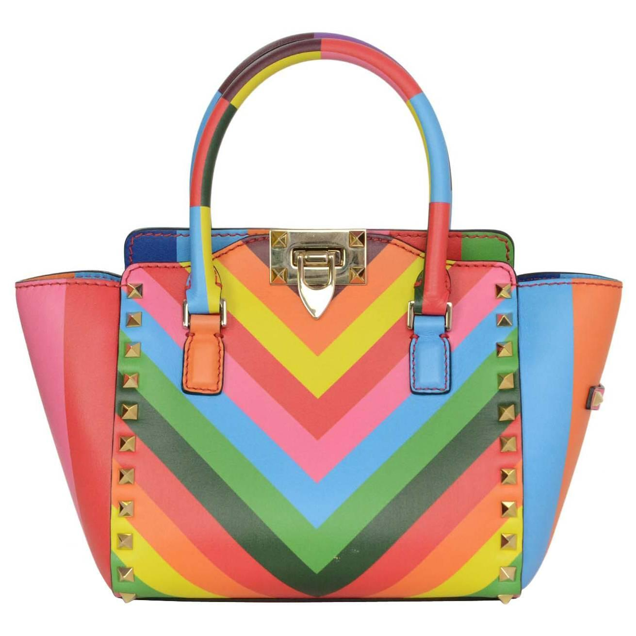 Valentino Multi Colored Rainbow Micro Mini Rockstud Crossbody Bag Ghw Rt 2 175 For At 1stdibs