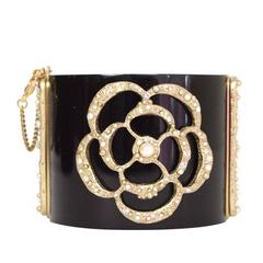 Chanel Black Resin & Textured Gold Camelia Cuff