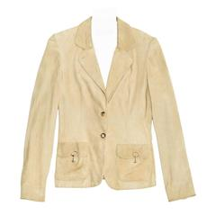 Gucci Beige Jacket With Gold Clasps