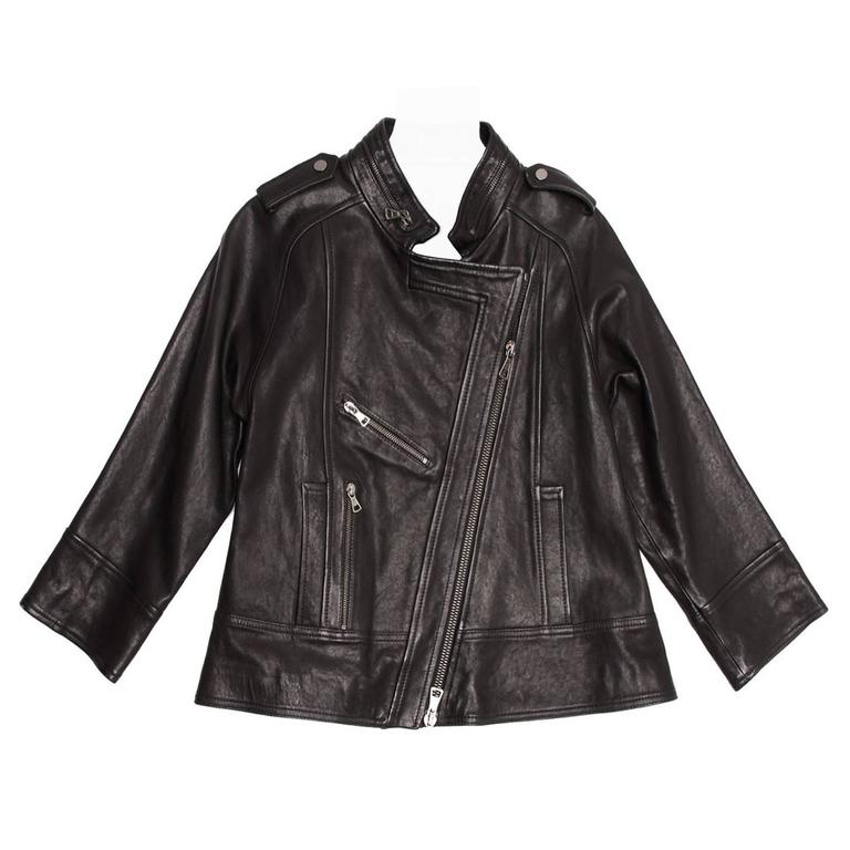 Proenza Black Leather A-line Moto Jacket