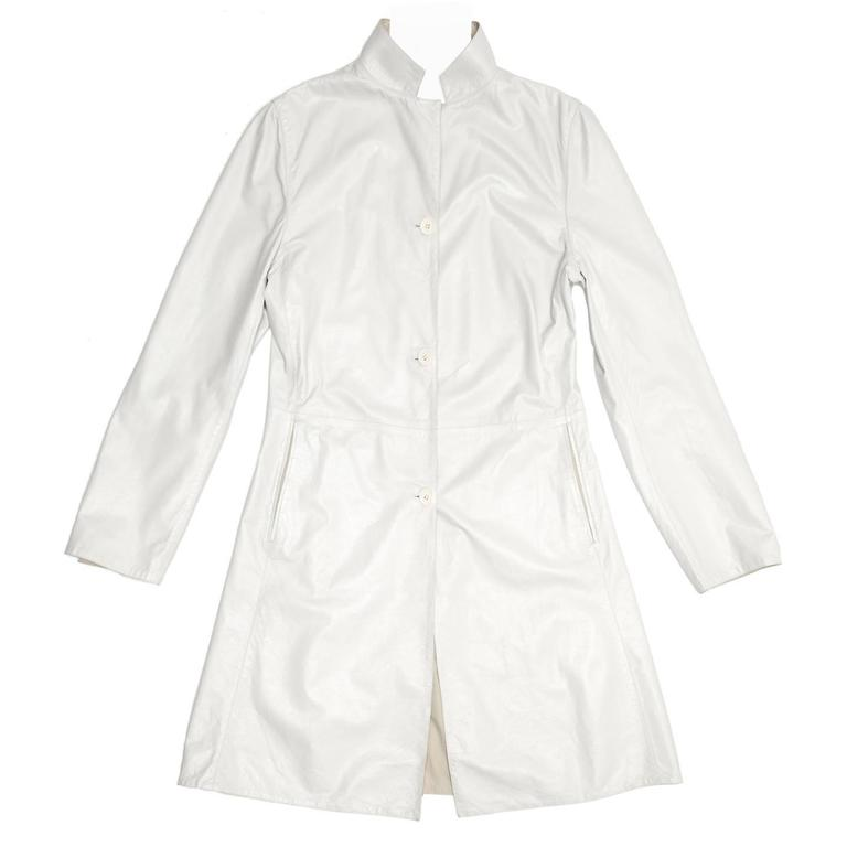 Jil Sander White Leather Reversible Coat
