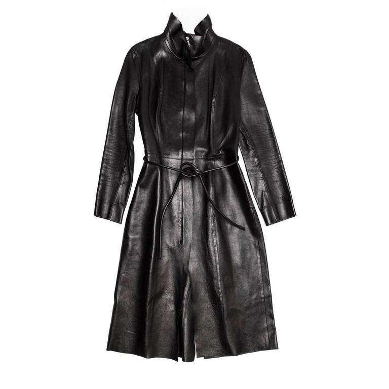 Gucci Black Leather Long Coat
