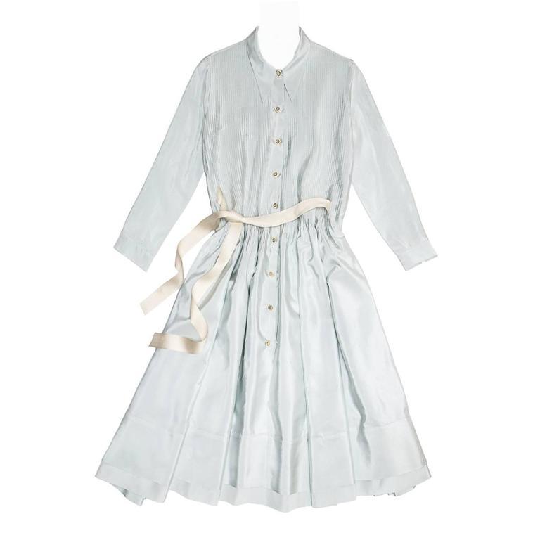 Prada Sky Blue Silk Shirt Dress 1