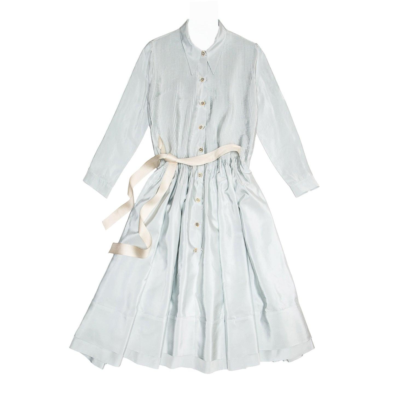 Prada Sky Blue Silk Shirt Dress For Sale At 1stdibs