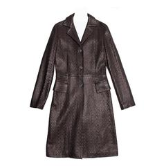 Jil Sander Brown Woven Leather Coat