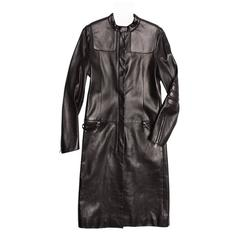 Prada Black Leather Racer Coat