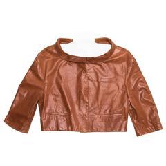Prada Brown Leather Cropped Jacket