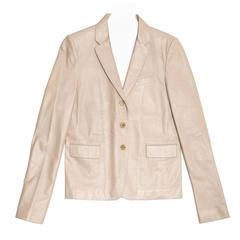 Gucci Khaki Leather Boxy Jacket