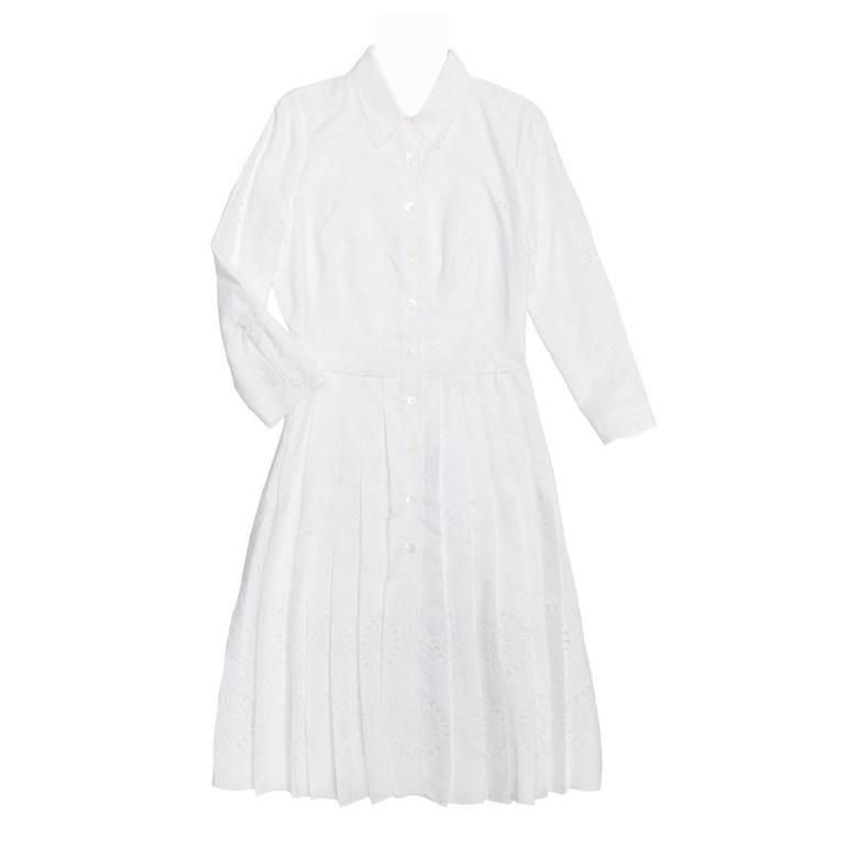 Prada White Cotton Eyelet Shirtdress
