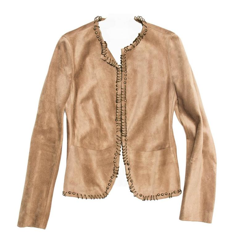 Yves Saint Laurent Tan Suede Jacket With Rings For Sale