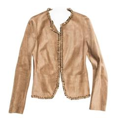 Yves Saint Laurent Tan Suede Jacket With Rings