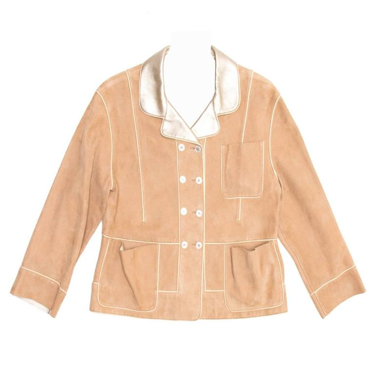 Louis Vuitton Tan Suede & Gold Leather Jacket