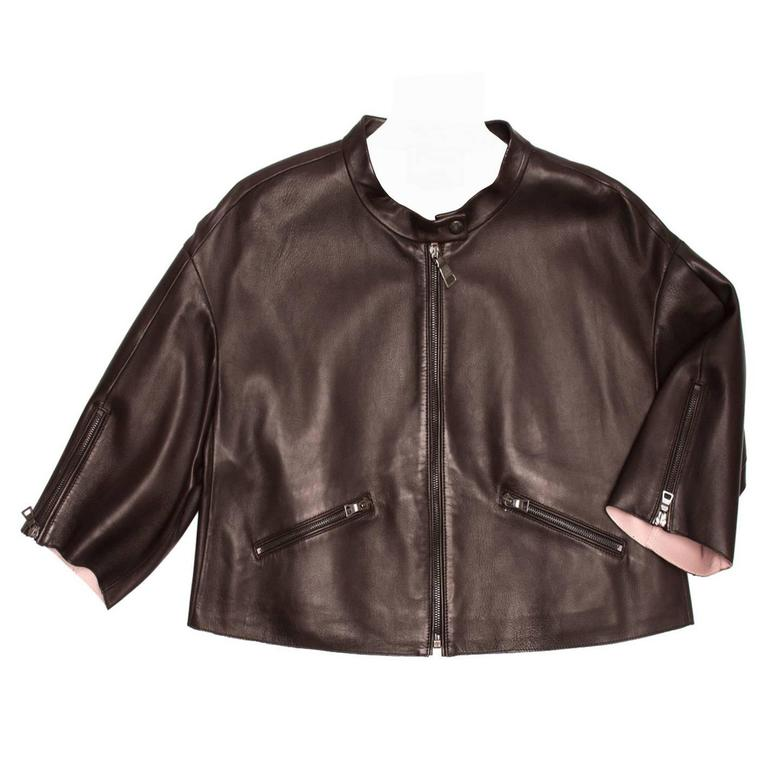 Prada Brown & Pink Lambskin Jacket