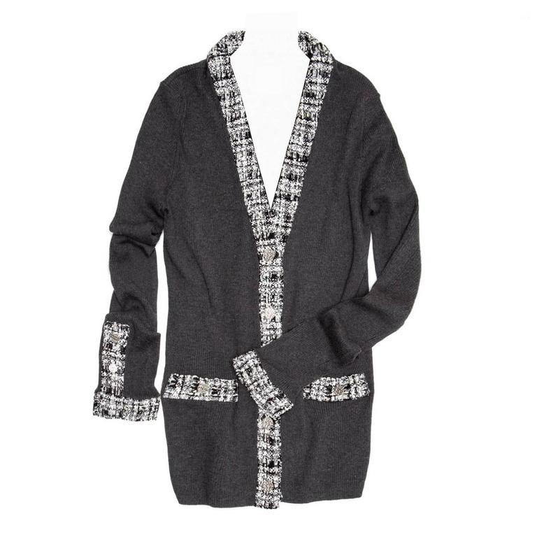 Chanel Grey Cotton and Tweed Long Cardigan For Sale