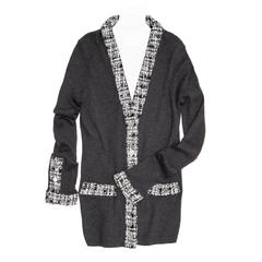 Chanel Grey Cotton and Tweed Long Cardigan