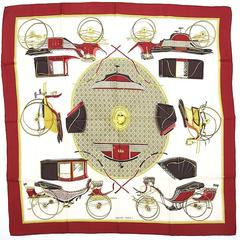 "Hermes Silk Twill Scarf ""Les Voitures a Transformation"""