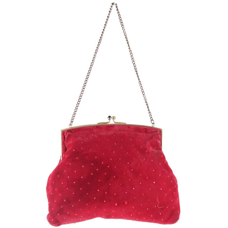 Gucci Rare Vintage Red Velvet Evening Bag Framed Handbag W