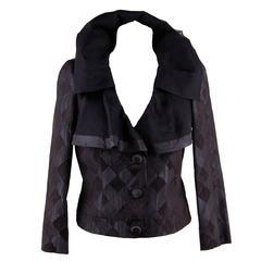 GIORGIO ARMANI BLACK LABEL Blue Black Silk Blend JACKET Ruffle Collar SIZE 40