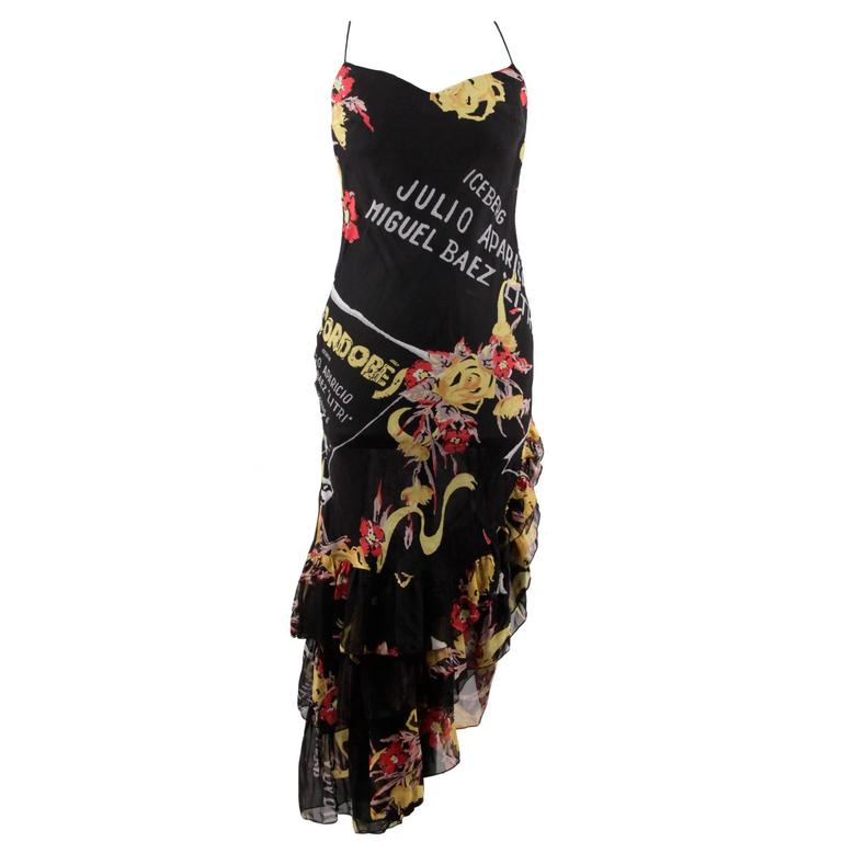 ICEBERG Black Silk MATADOR Printed ASYMMETRIC DRESS Size 42 IT