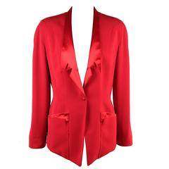 THIERRY MUGLER Red BLAZER Jacket with SATIN LAPELS Size 38 FR