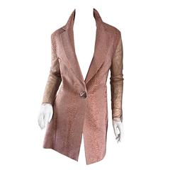 Gianfranco Ferre Vintage 1990s Pink + Nude Snakeskin + Lace Silk Blazer Jacket