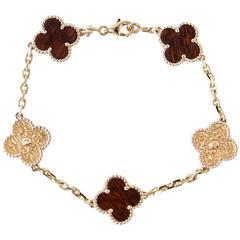 Van Cleef & Arpels Bracelet Alhambra Collection 18k Rose Gold Bois D'amourette