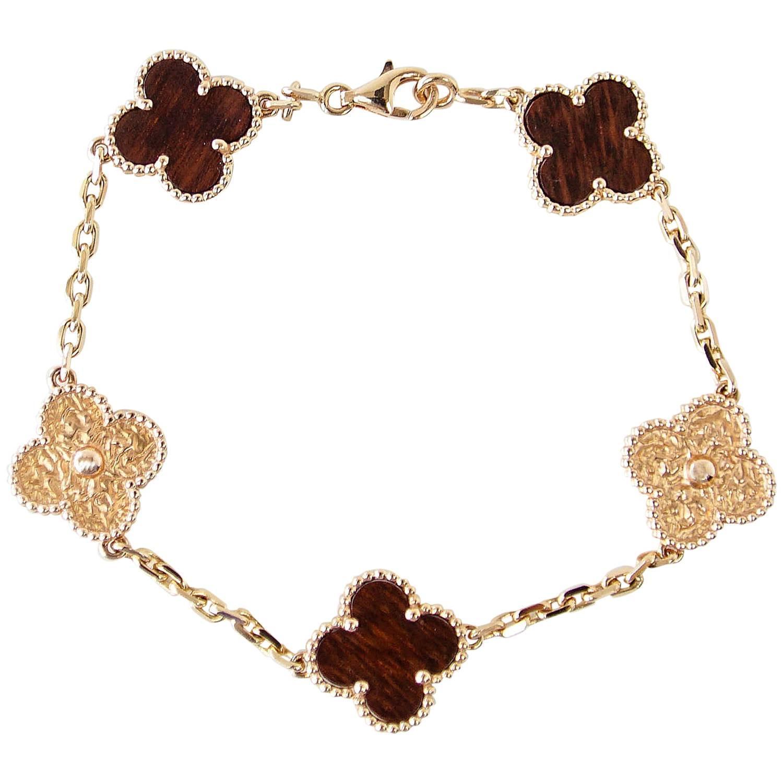 Van Cleef Arpels Bracelet Alhambra Collection 18k Rose Gold Bois D Amourette