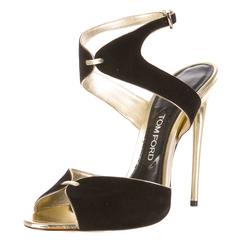 Tom Ford NEW Black Suede Gold Leather Trim High Heels Strappy Stiletto Sandals