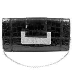 Judith Leiber Black Crocodile Evening Bag