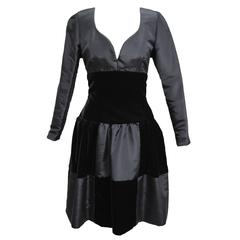 Givenchy Sweetheart Taffeta and Velvet Patch Evening Babydoll Dress