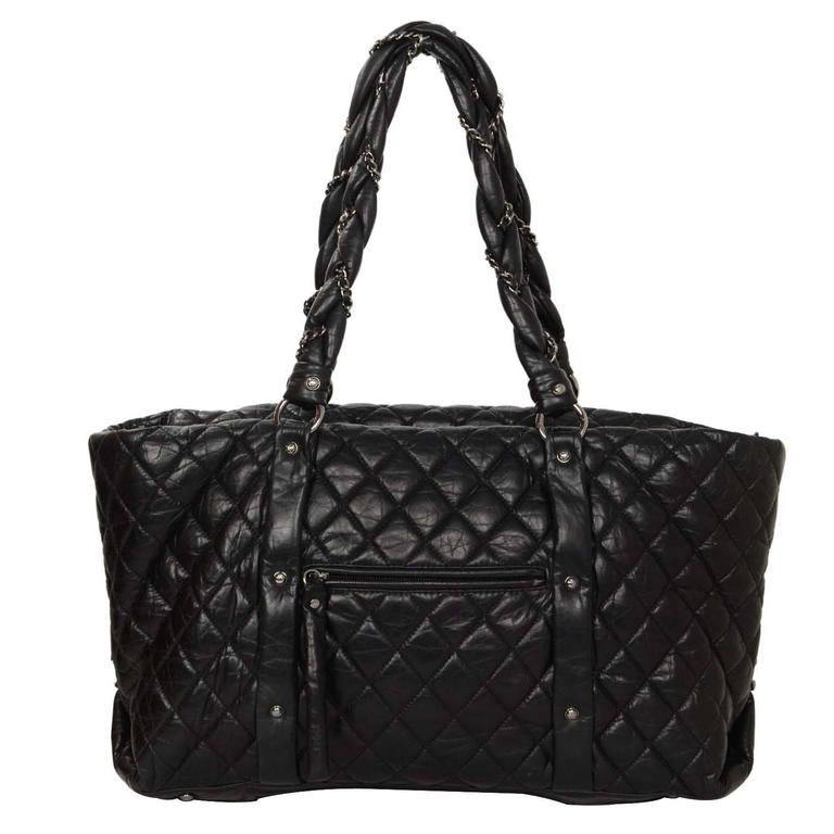 075e9a4996f5 Chanel Black Distressed Quilted Lady Braid Ligne Tote Bag SHW For Sale