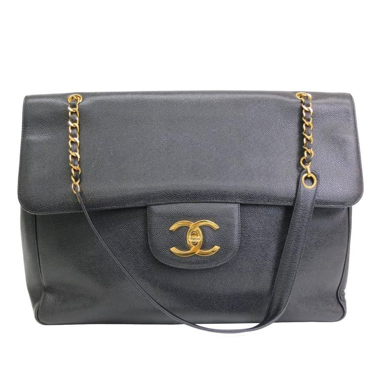 ee240aa8c158 Chanel RARE Black Caviar Supermodel Overnight XL Weekender Shoulder Tote Bag  For Sale