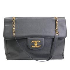 Chanel RARE Black Caviar Supermodel Overnight XL Weekender Shoulder Tote Bag