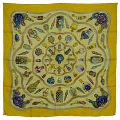 Hermes Yellow 'Pourvu Qu'On Ait L'Ivresse' Silk 90cm Scarf