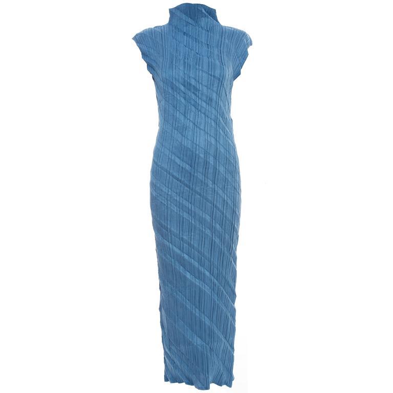 Issey Miyake Blue Pleated Polyester Sleeveless Sheath Dress, Spring 1995 1