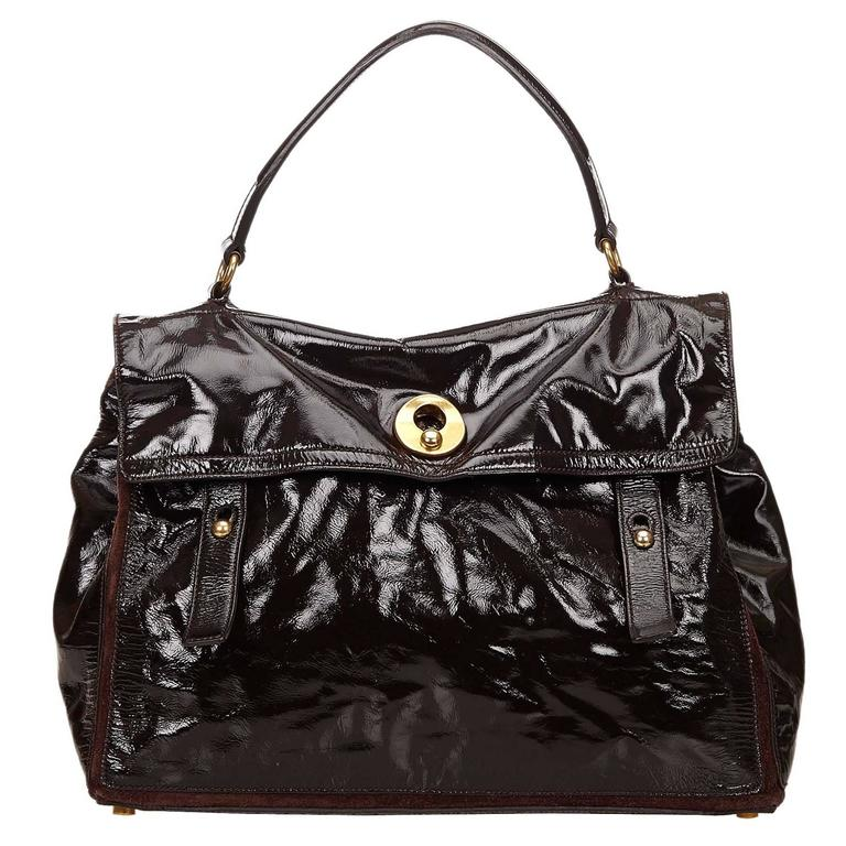 Ysl Brown Patent Leather Muse Two Hand Bag For Sale At 1stdibs