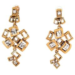 Oscar De La Renta Chandelier Crystal Gold Earrings