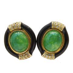 1960's Ciner Black Enamel and Green Clip-on Earrings