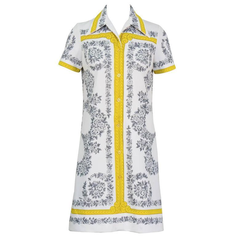 1960's Mr. Dino Printed Shirt Dress