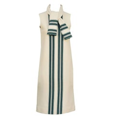 1960's Italian Knit Cream and Green Dress with Matching Scarf