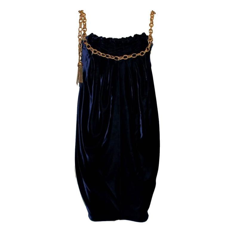 Stunning Dolce & Gabbana Midnight Blue Velvet Chain Empire Dress 1