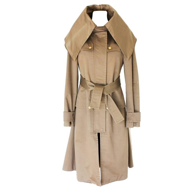 Gucci Distressed Mud Green Hooded Coat With Belt At 1stdibs