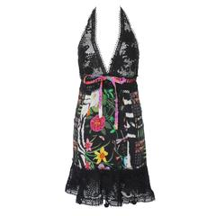 Famous Gucci Flora Print Floral Crochet Knit Macrame Dress