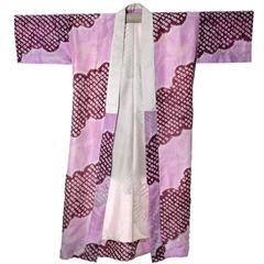 1920s Shibori Silk Japanese Vintage Kimono Robe Phoenix