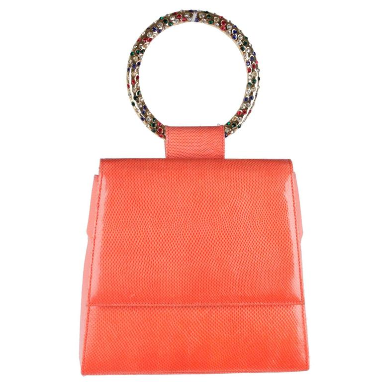 025f116210eb ANDREA PFISTER Vintage Orange Lizard HANDBAG Evening Bag BANGLE Handle For  Sale