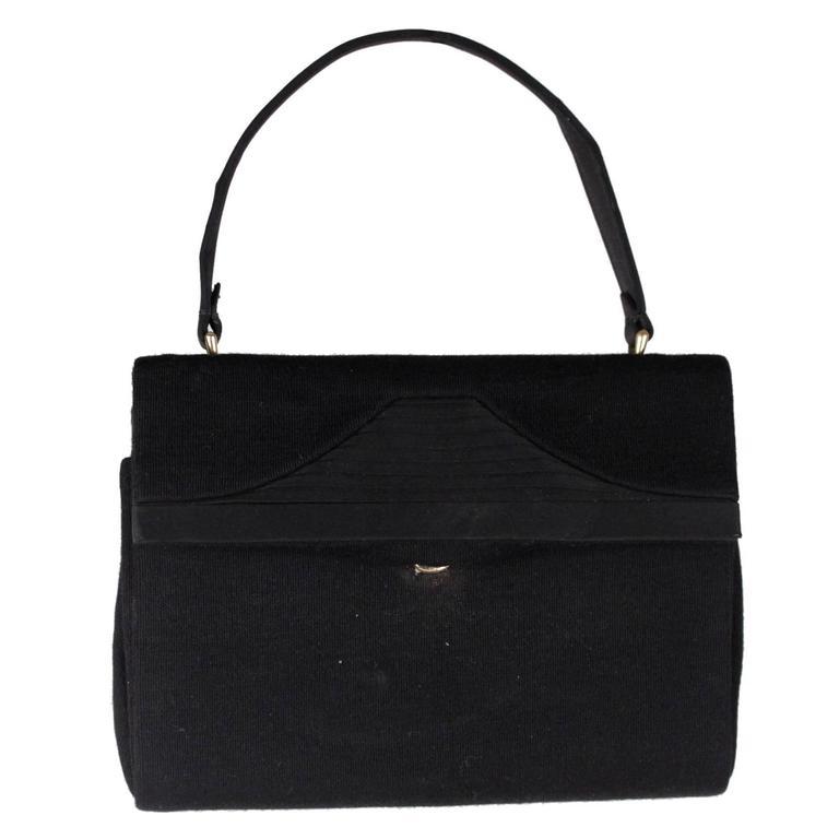 GUCCI VINTAGE Black Fabric HANDBAG Evening Bag PURSE