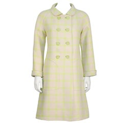 1960's Courreges Beige and LIme Green Coat