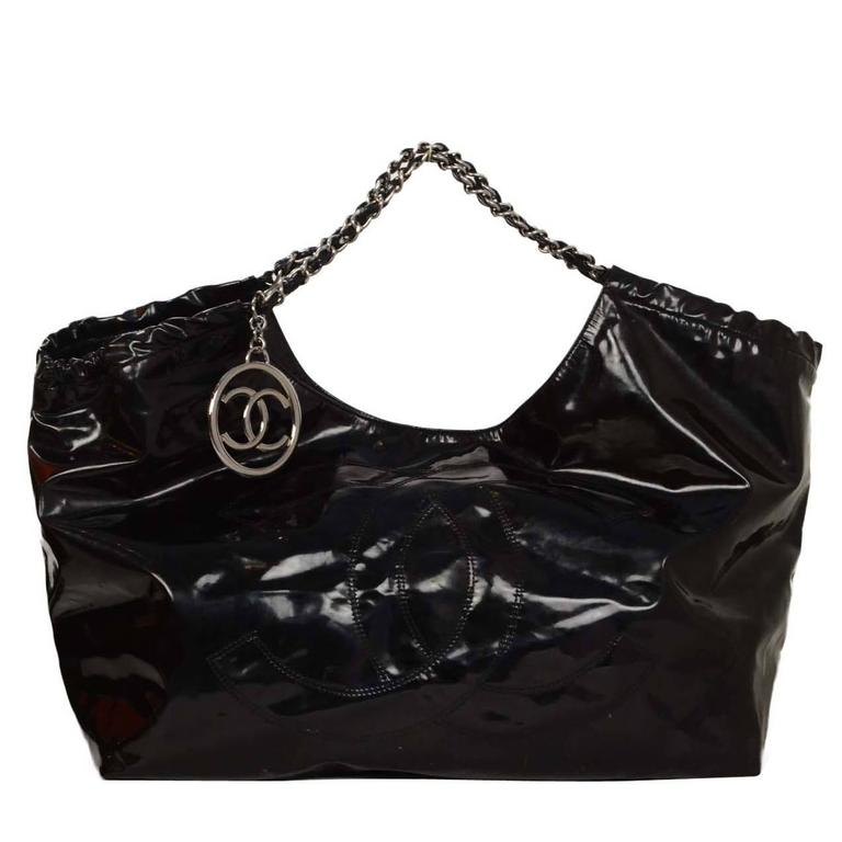 eac80283182bc1 Chanel Black Vinyl XL Coco Cabas Tote Bag SHW For Sale at 1stdibs