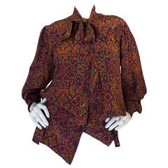 1970s Stunning Silk Print Yves Saint Laurent Top